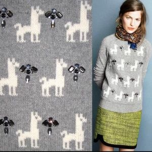 J. Crew | Jeweled Llama Sweater Pullover M